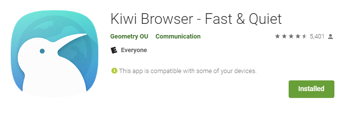 Kiwi Browser available on play store