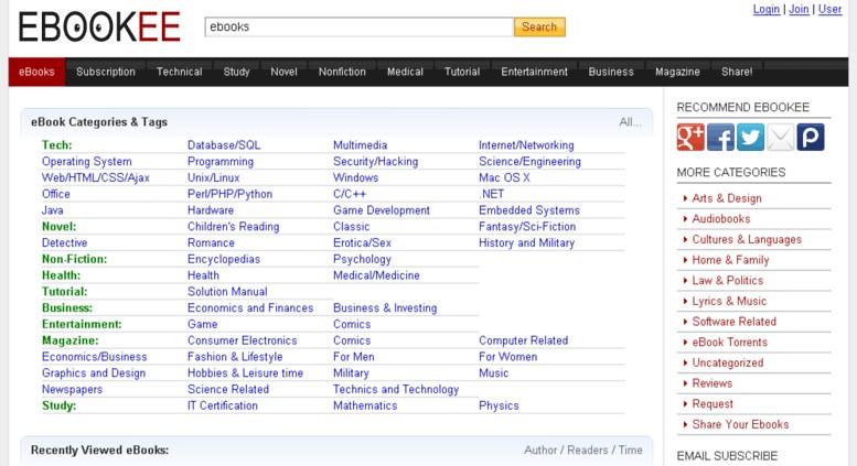 Popular Sites like Ebookee